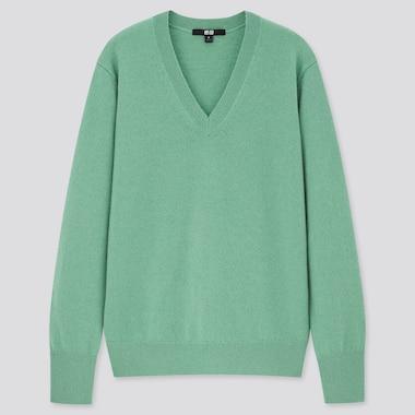 Women Cashmere V-Neck Sweater, Green, Medium