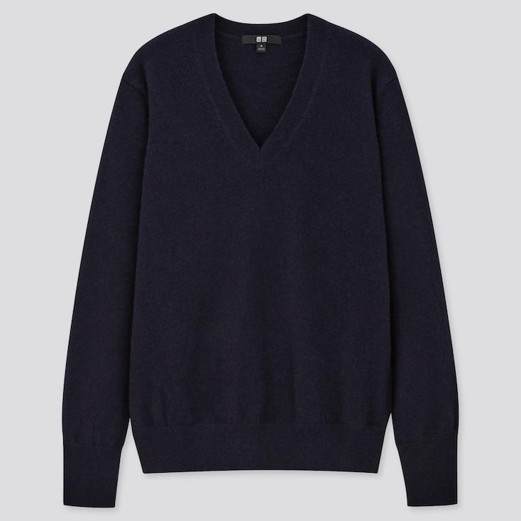 Women Cashmere V-Neck Sweater, Navy, Large