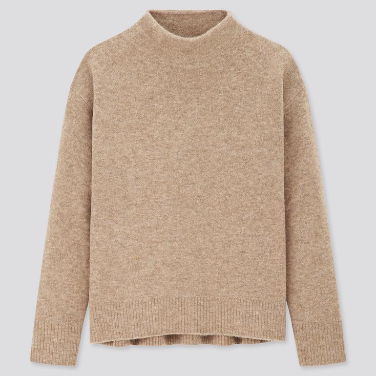 Women Souffle Yarn High-Neck Sweater, Beige, Large