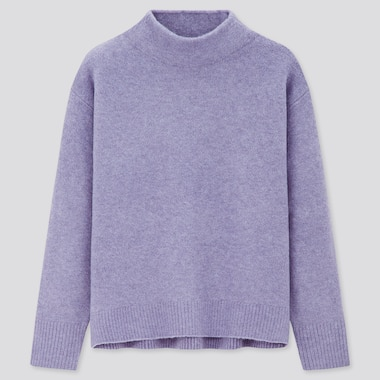 Women Souffle Yarn High-Neck Sweater, Purple, Medium