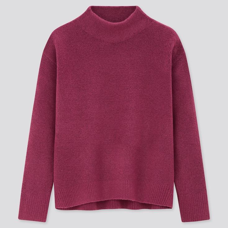 Women Souffle Yarn High-Neck Sweater, Purple, Large