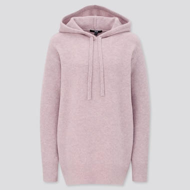 Women Souffle Yarn Hooded Tunic, Pink, Medium