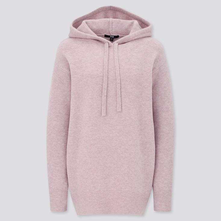Women Souffle Yarn Hooded Tunic, Pink, Large