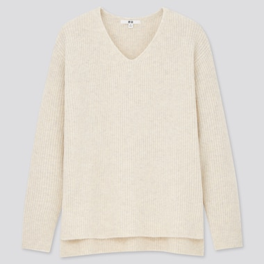 Women Soft Soufflé Knit V Neck Side Split Jumper