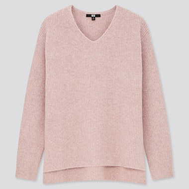 Women Souffle Yarn Side Slit V-Neck Sweater, Pink, Medium