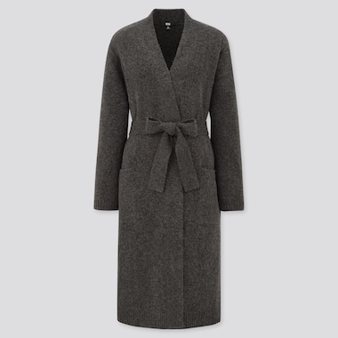 Women Souffle Yarn Belted Long Knitted Coat, Dark Gray, Medium
