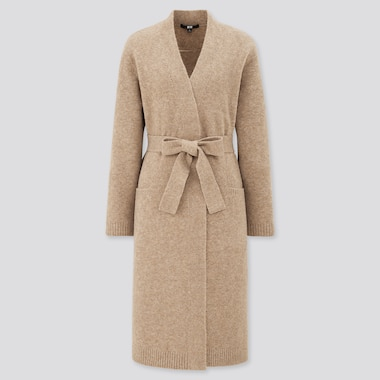 Women Soufflé Yarn Knitted Belted Long Coat