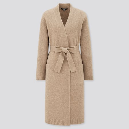 Women Soft Soufflé Knit Belted Long Coat