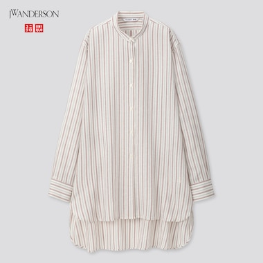 Women Linen Blend Long-Sleeve Shirt (Jw Anderson), Off White, Medium