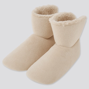 Women Corduroy Fleece-Lined Slippers, Natural, Medium