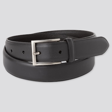 Men Italian Leather Stitched Belt, Black, Medium