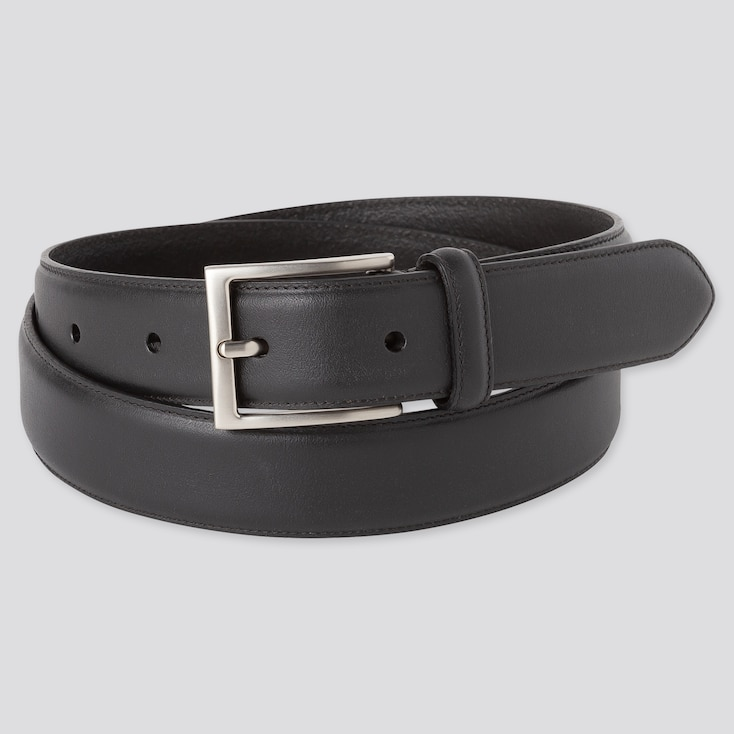 Men Italian Leather Stitched Belt (Online Exclusive), Black, Large