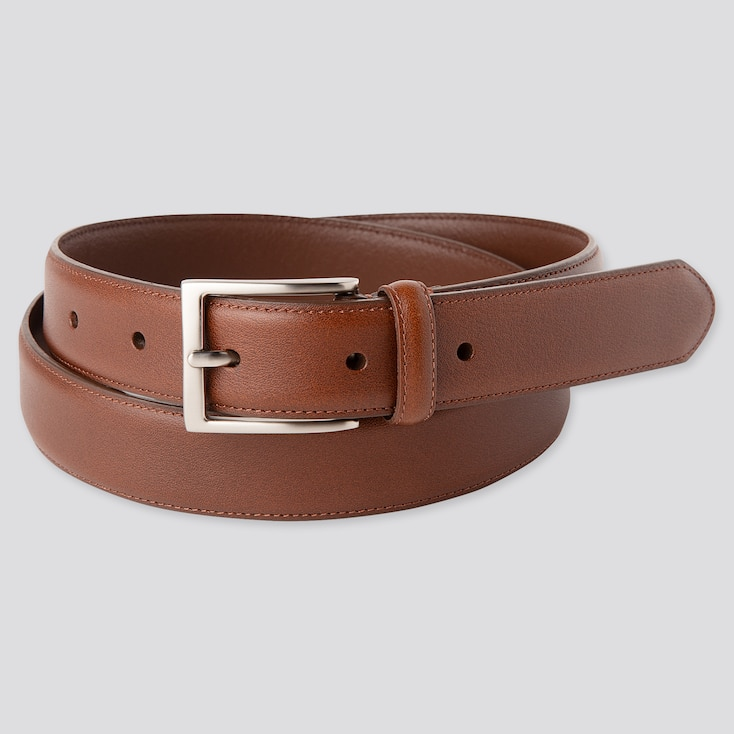 Men Italian Leather Stitched Belt (Online Exclusive), Brown, Large