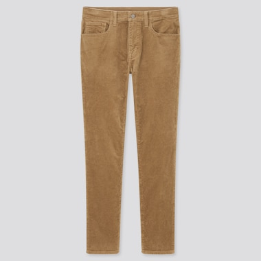 Men Ultra Stretch Corduroy Skinny Jeans, Beige, Medium