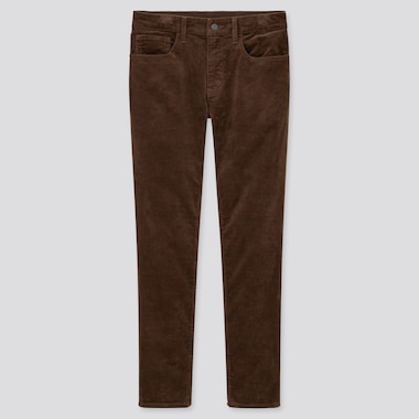Men Ultra Stretch Corduroy Skinny Jeans, Dark Brown, Medium