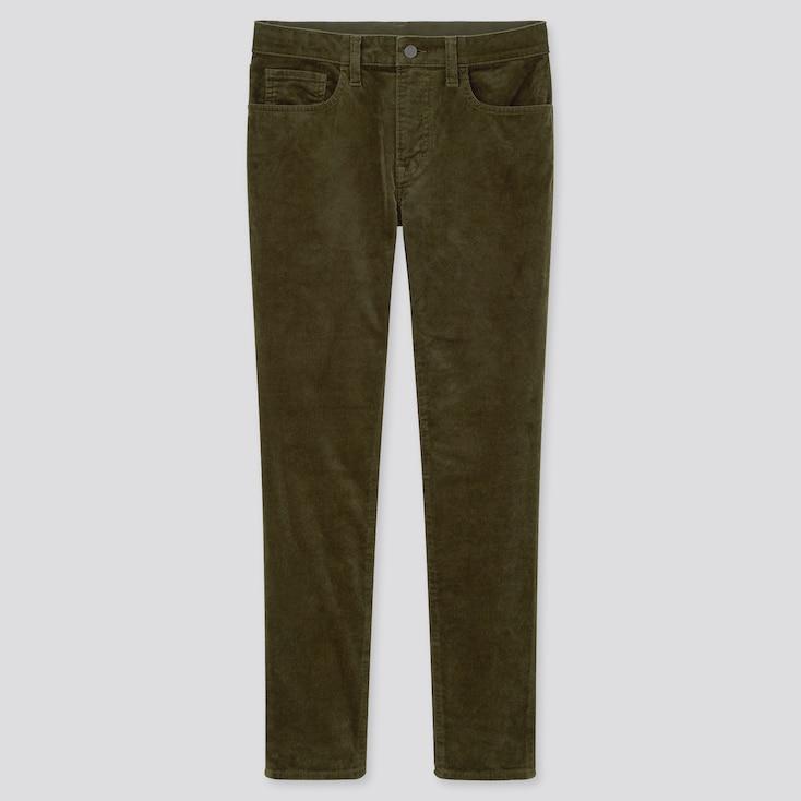 Men Ultra Stretch Corduroy Skinny Jeans, Olive, Large