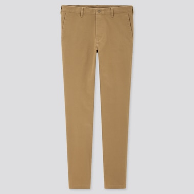 Men Skinny Fit 2-Way Stretch Chino Pants, Brown, Medium