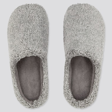 Fluffy Yarn Fleece Slippers, Dark Gray, Medium