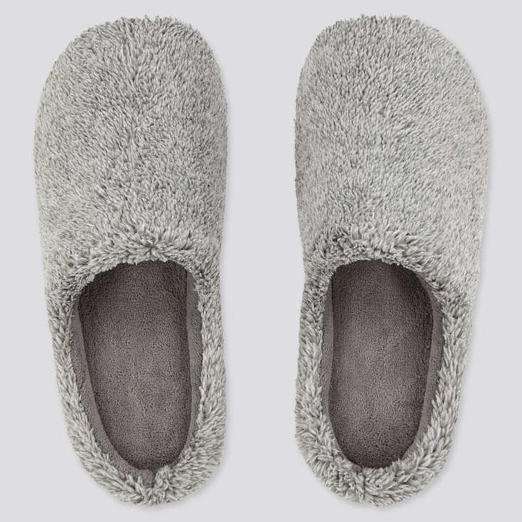 Fluffy Yarn Fleece Slippers, Dark Gray, Large