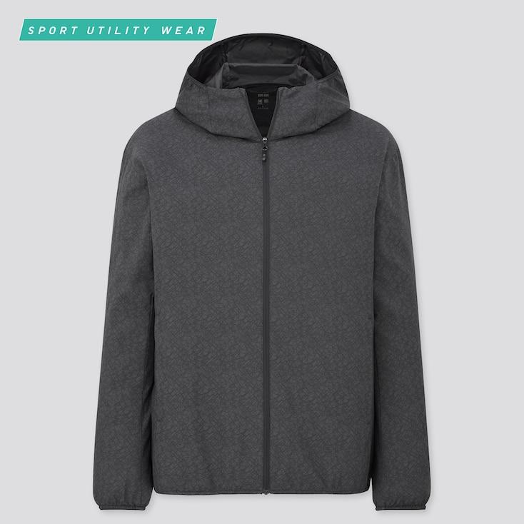 Men Pocketable Uv Protection Patterned Parka, Dark Gray, Large