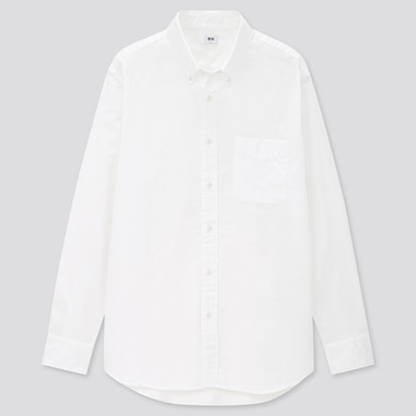 Men Oxford Long-Sleeve Shirt, Off White, Medium