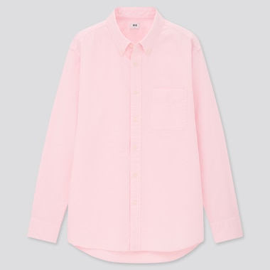 Men Oxford Long-Sleeve Shirt, Pink, Medium