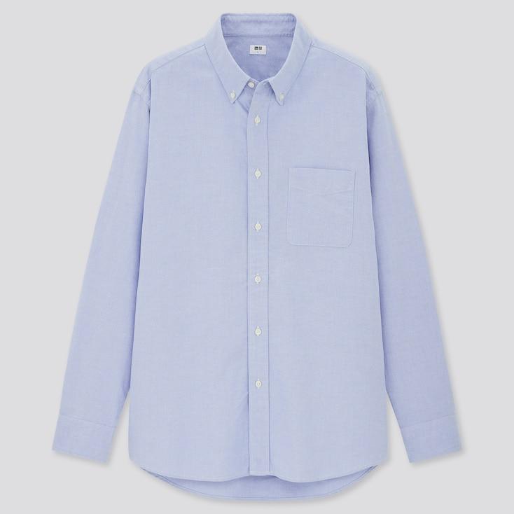 Men Oxford Long-Sleeve Shirt, Blue, Large