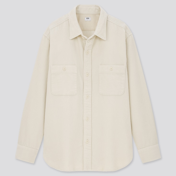 Corduroy Long-Sleeve Work Shirt, Off White, Large