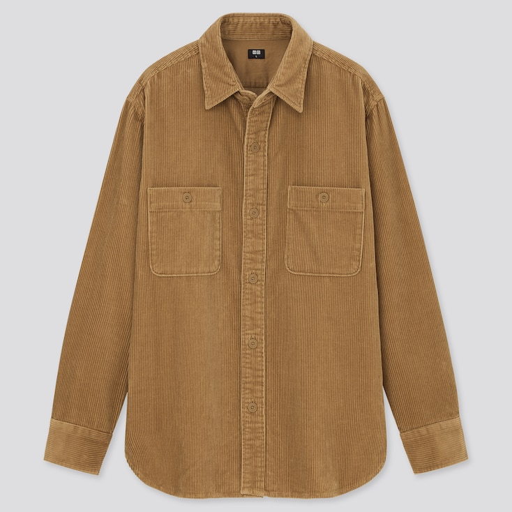 Corduroy Long-Sleeve Work Shirt, Beige, Large