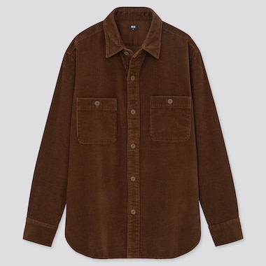 Corduroy Long-Sleeve Work Shirt, Dark Brown, Medium