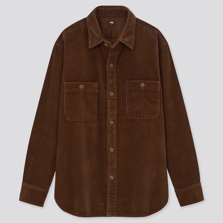 Men Corduroy Long-Sleeve Work Shirt, Dark Brown, Large