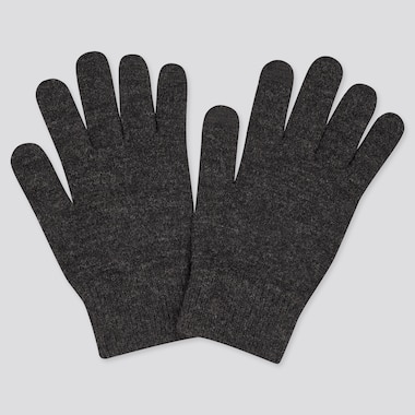 Men Heattech Knitted Gloves, Dark Gray, Medium