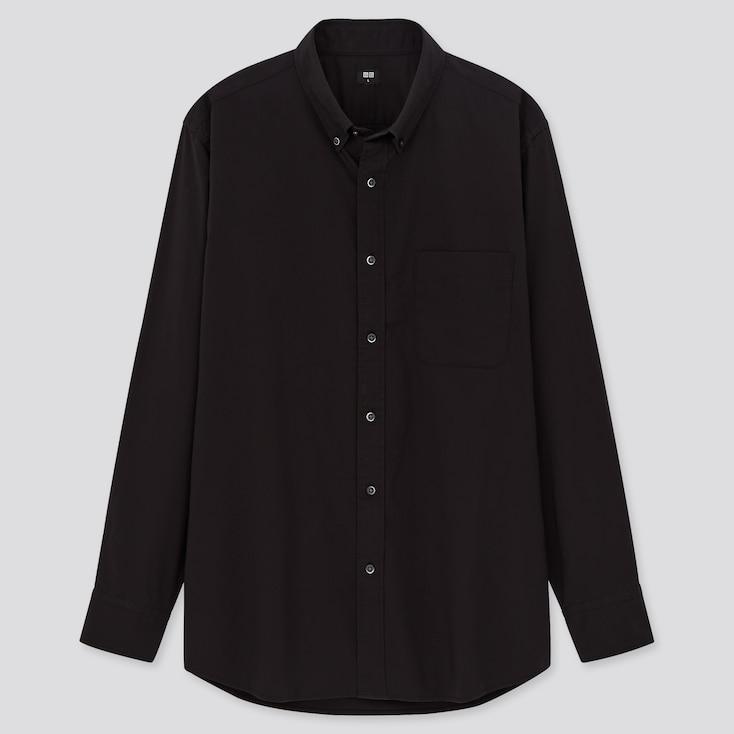Men Extra Fine Cotton Broadcloth Long-Sleeve Shirt, Black, Large
