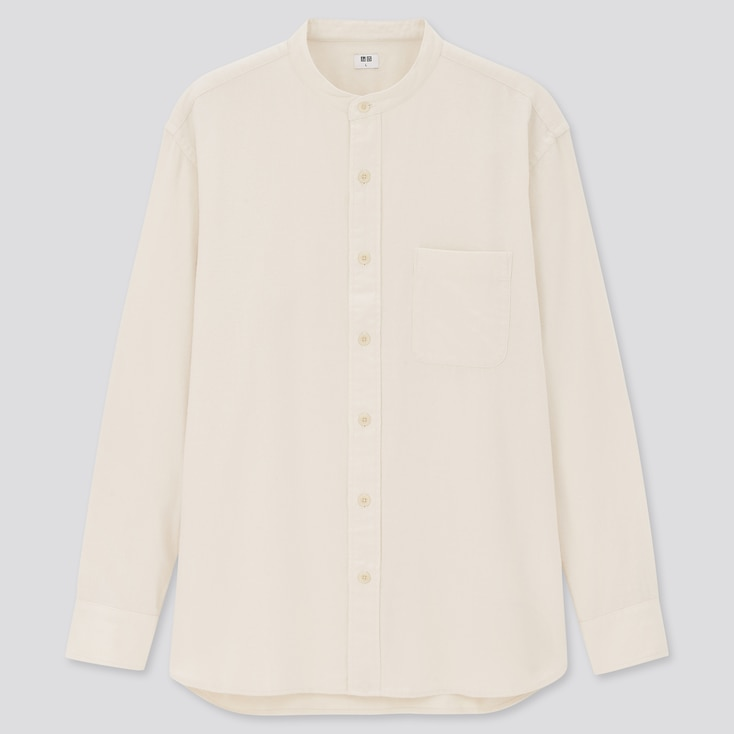 Flannel Stand Collar Long-Sleeve Shirt, Off White, Large