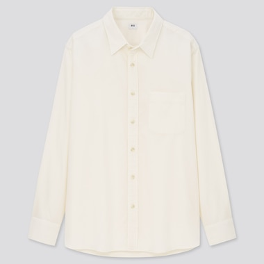 Men Corduroy Long-Sleeve Shirt, Off White, Medium