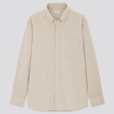 Men Flannel Checked Long-Sleeve Shirt, Natural, Medium