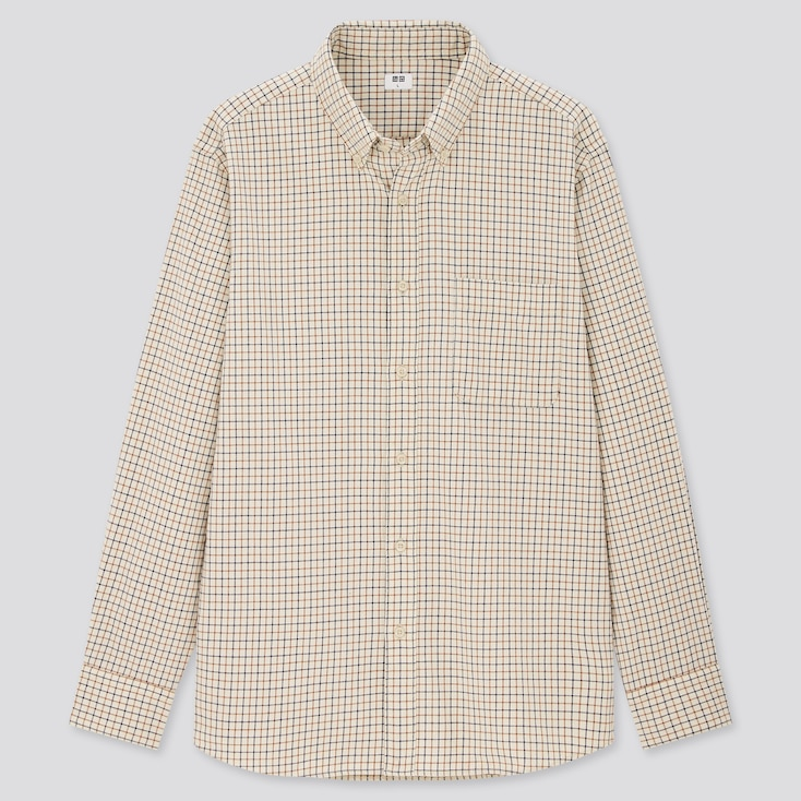 Men Flannel Checked Long-Sleeve Shirt (Online Exclusive), Natural, Large