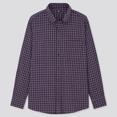 Men Flannel Checked Long-Sleeve Shirt, Blue, Medium