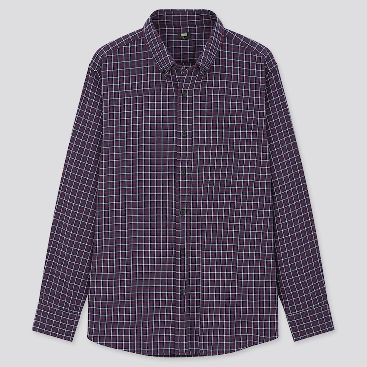 Men Flannel Checked Long-Sleeve Shirt (Online Exclusive), Blue, Large