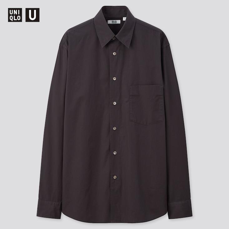 Men U Broadcloth Long-Sleeve Shirt, Dark Gray, Large