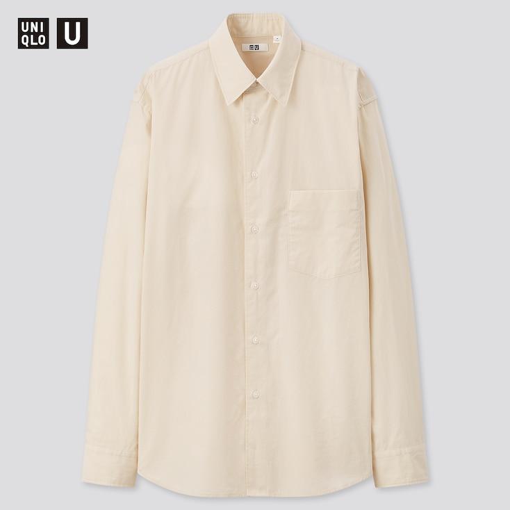 Men U Broadcloth Long-Sleeve Shirt, Natural, Large