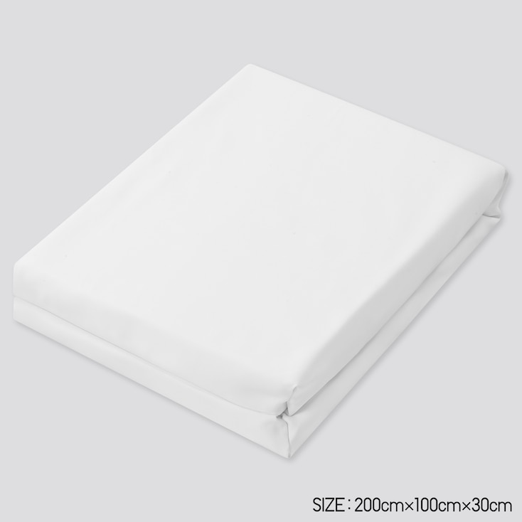 Airism Twin-Size Fitted Bed Sheet (Online Exclusive), White, Large