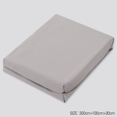 Airism Twin-Size Fitted Bed Sheet (Online Exclusive), Gray, Medium