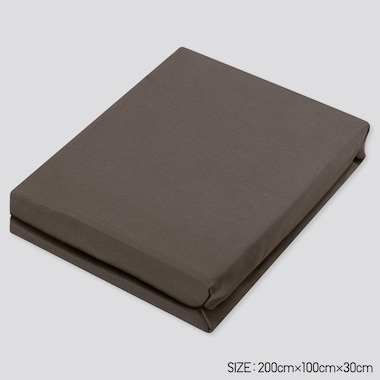 Airism Twin-Size Fitted Bed Sheet (Online Exclusive), Dark Brown, Medium