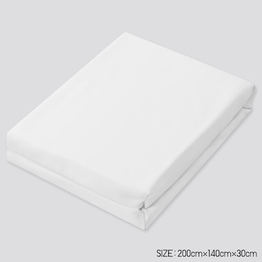 Airism Full-Size Fitted Bed Sheet, White, Medium