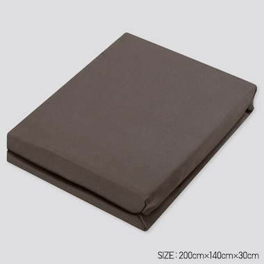 Airism Full-Size Fitted Bed Sheet (Online Exclusive), Dark Brown, Medium