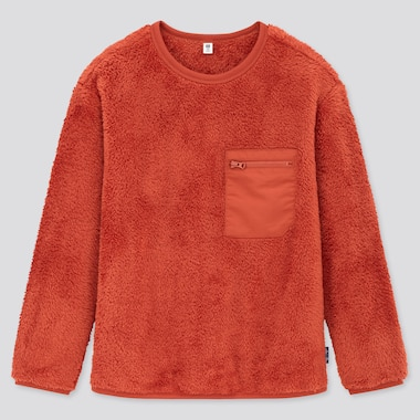 Kids Fluffy Yarn Fleece Pullover Shirt, Orange, Medium