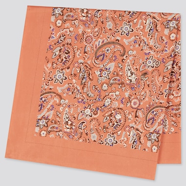 Women Printed Scarf (Paisley), Orange, Medium