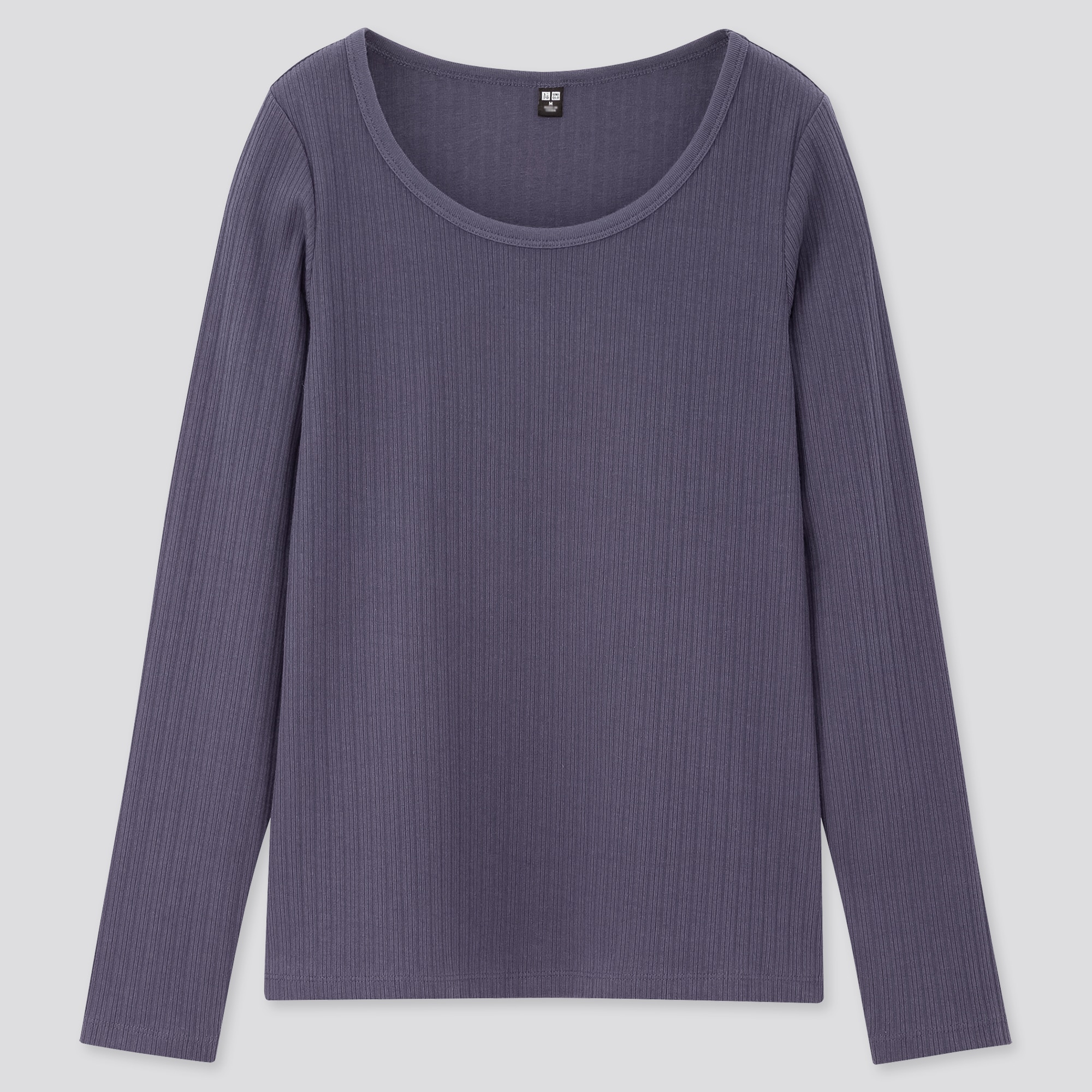 Women Ribbed Round Neck Long Sleeved T-Shirt