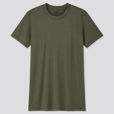 Men Heattech Crew Neck Short-Sleeve T-Shirt, Dark Green, Medium